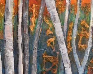 "Birch Trees I 8""x10"" Acrylic, Paper, and Fibers on Wood Panel - Available"