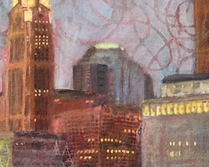 "Downtown Lit Up 18""x36"" Acrylic, Paper, and Fibers on Canvas"
