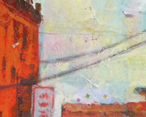 """Looking Down Poplar Ave 24""""x24"""" Acrylic, Paper, and Fibers on Canvas - Available"""